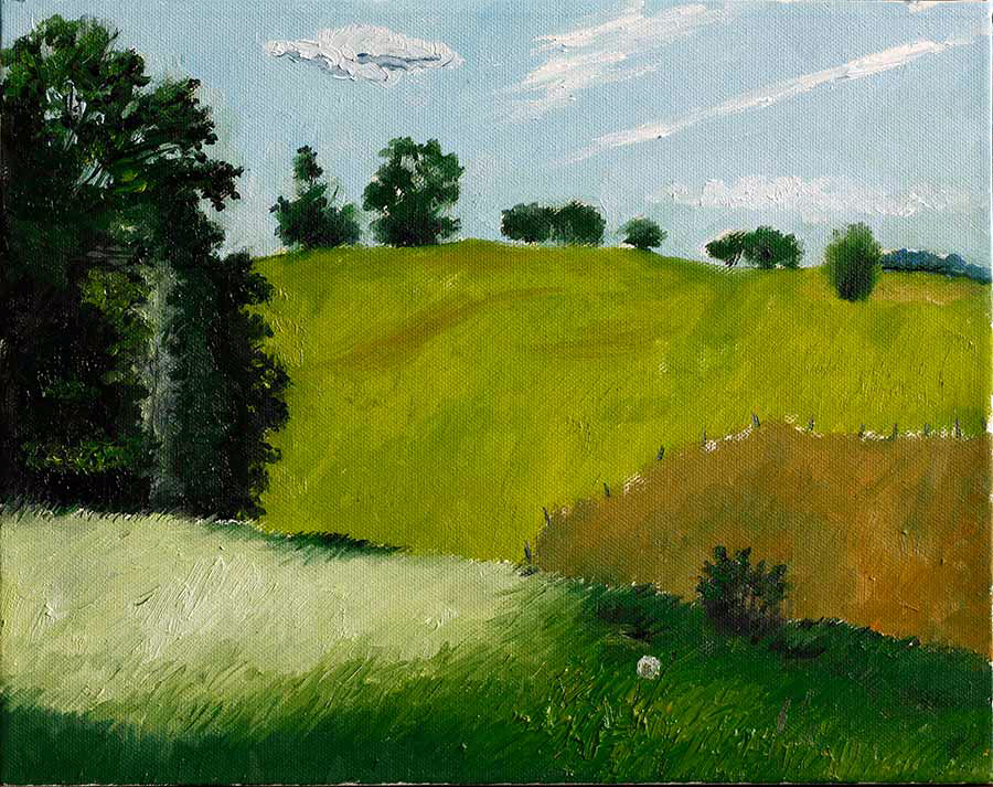 Hill at the 15 th sideroad End - Oil on canvas