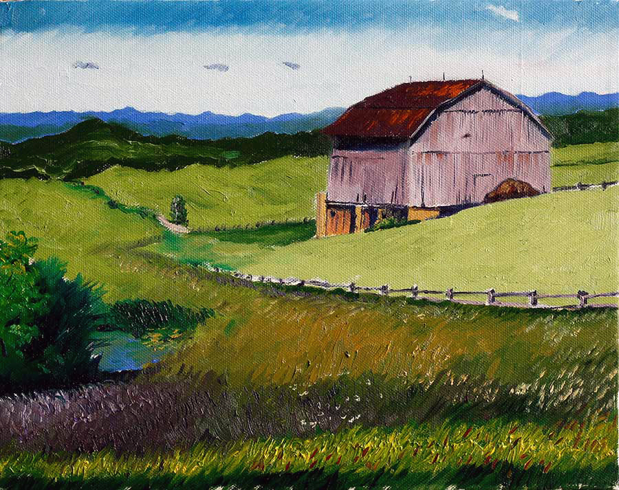 The Smiling Face Barn - Oil on canvas