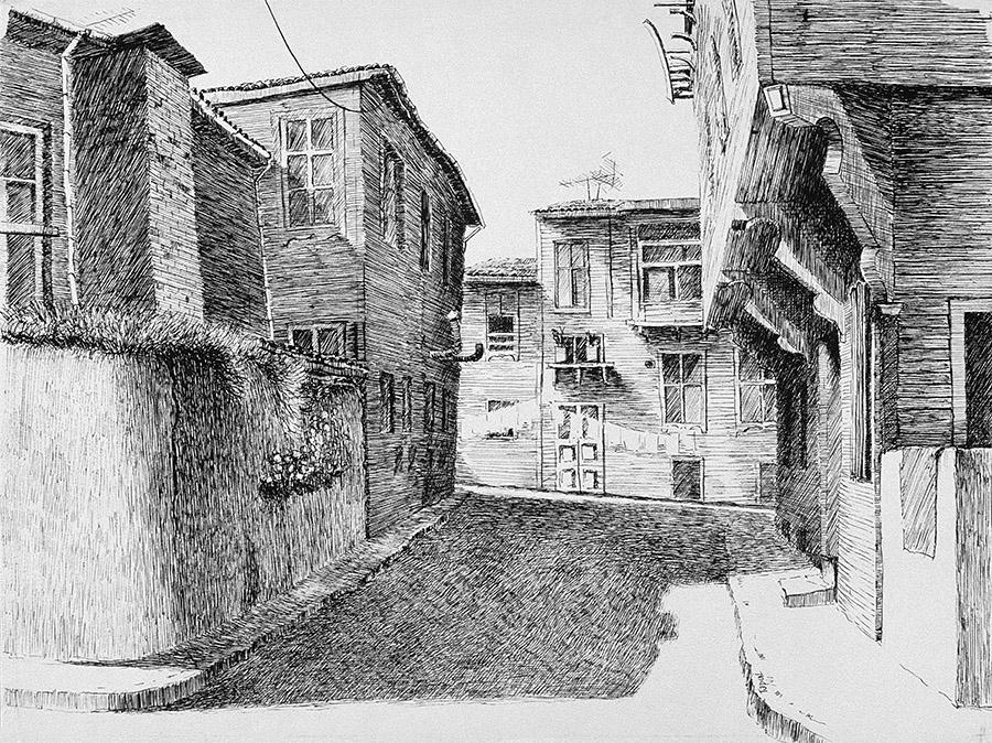 Ahşap Evlerin Kibirli Duruşu (1995) Istanbul - Ink on paper - Drawings