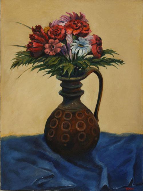 Bucket of Flowers - Toronto, 2010, Still Life - Oil on canvas