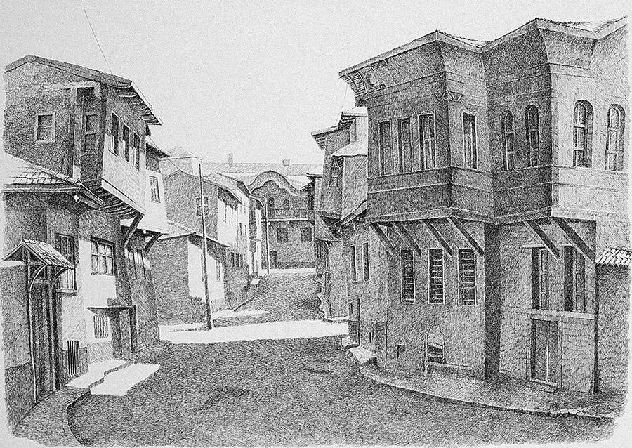 Eskişehir'de Tipik Bir Osmanlı Sokağı (1995) Eskişehir - İnk on paper