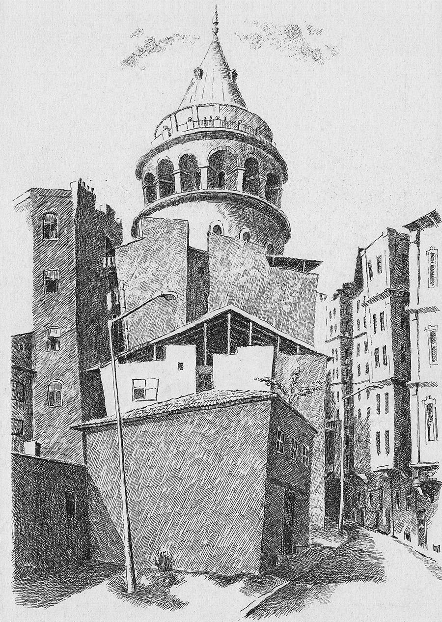 Galati Kulesi (1995) İstanbul - İnk on paper