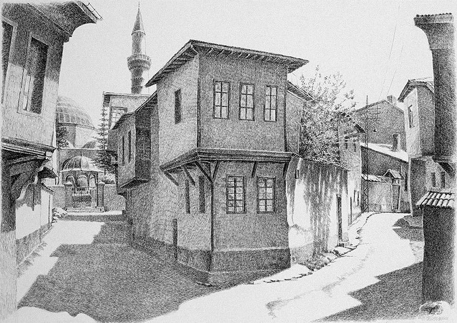 Öğlen Vaktinde Kurşunlu Sokağından Bir Görünüş  (1995) Eskişehir - İnk on paper
