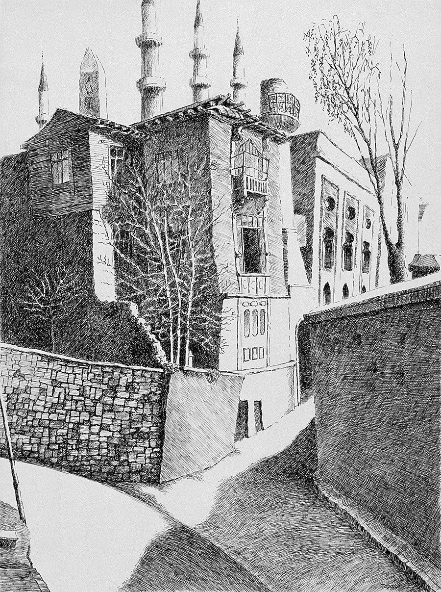 Şehit Mehmed Paşa Yokuşunda Özbeklere ait Bir Bina  (1995) İstanbul - İnk on paper - Drawings