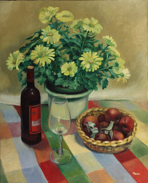 The Flowers Basket of Fruits and Wine with Glass